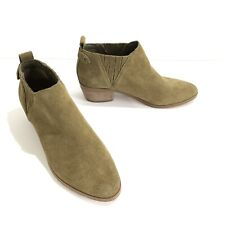 Marc Fisher Green Suede Ankle Booties Size 6.5 Wilde Pointed Toe Block Heel