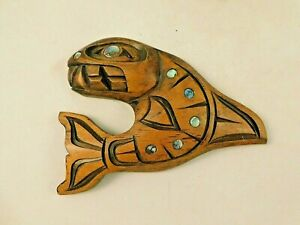 NATIVE AMERICAN CARVED KILLER WHALE with ABALONY SETS  by VERNEEN ANNE BARNES