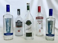 Job Lots of 5 x EMPTY 1 Litre 70cl Glass Bottles Gin Vodka Spirts UpCycle Crafts