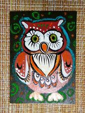 ACEO original pastel painting outsider folk art brut #010528 surreal funny owl