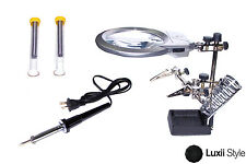 60w Soldering Iron Set w LED Helping Hand Magnifier & Wire Tube Jewelry Repair