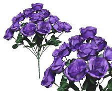 "12 Purple Rose 20""Bouquet Wedding Bridal Party Home Decor Artificial Silk Flower"