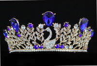 Swan Royal Blue Austrian Crystal Rhinestone Tiara Crown With Hair Combs T897