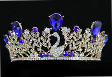 Swan Royal Blue Austrian Crystal Rhinestone Tiara Crown With Hair Combs T897