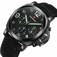 Mens Analog Black Stainless Steel Sports Date Quartz Wrist Watch Leather Band UK
