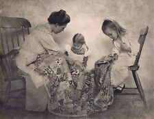 """Hendrickson Orig Photo SEPIA MOTHER TEACHING HER LITTLE ONE HOW TO QUILT 14x11"""""""