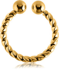 NEW Gold PVD Surgical Steel Fake Septum Ring Aussie Seller Free Delivery