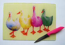 Unique Glass Chopping Board with a vibrant DUCKS design by artist Maria Moss