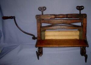 Antique/VTG Wooden/Cast Iron Clothes Wringer Works!