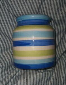"""4"""" Blue/Green Striped Ceramic Vase/canister/Jar"""