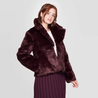 A New Day Women's Coat Size XS Faux Fur Burgundy Long Sleeve