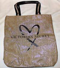 Victoria's Secret Large Gold Glitter Travel Beach Bag Tote