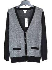 Joan Vass - S (4/6) - NWT - Black & Silver Boyfriend Cardigan Sweater - $118