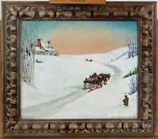 Canadian Folk Art Vintage 1940 Oil on Board Winter Landscape Signed Bernice Nash