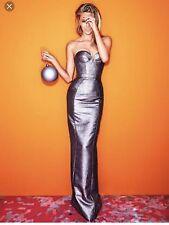 AURELIO COSTRARELLA Gown Bustier Dress Silver SZ 1 For Alex Perry