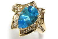 4.65 ct tw Natural Pear Blue Topaz & Diamond Solid 14k Yellow Gold Cocktail Ring