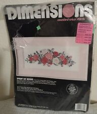 NEW VINTAGE 1989 DIMENSIONS COUNTED CROSS STITCH KIT SPRAY OF ROSES 3679