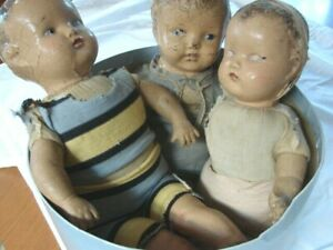 ANTIQUE EARLY 1900s LOT 3 BROTHERS COMPOSITION DOLLS for restoration or parts