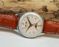 RARE VINTAGE TRIPLE CALENDAR POINTER MOON PHASE SILVER DIAL MANUAL WIND WATCH
