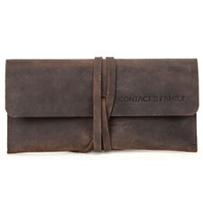 Handmade Cowhide Leather Pen Pouch Vintage Roll-up Pencil Case Bag Pen Curtain