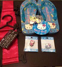 Sanrio Hello Kitty Flip Flips Sz 7 w/ Bonus Charms & Flip Flip Holder NEW