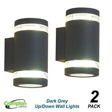 2 x Dark Grey Charcoal Up/Down Outdoor Exterior Wall Lights - 240V GX53