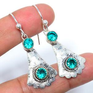 "Blue Tourmaline 925 Sterling Silver Bali Earring 1.95"" LBE-154"