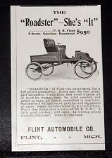1903 OLD MAGAZINE PRINT AD, FLINT AUTOMOBILE, 8 HORSE GASOLINE ROADSTER SHES IT!