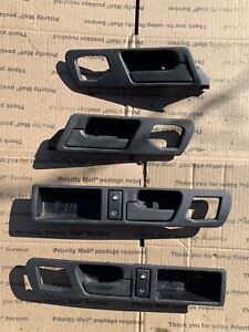 BMW FRONT & REAR RIGHT LEFT INTERIOR DOOR HANDLE PANEL INSERT OEM E34 5 SERIES