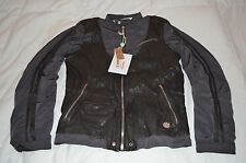 Authentic Diesel Lareia Mens Motorcycle Leather Nylon Charcoal Gray Jacket XL