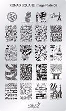 Original KONAD Schablone Plate Stamping Platte Square Stamp  #9