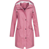 Womens Long Sleeve Hooded Wind Jacket Ladies Outdoor Waterproof Rain Parka Coat