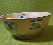 Vintage Large Yellow Oriental Accent Bowl with Tea Cup Pattern