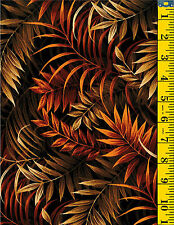 Wild Things Jungle Fern Leaves Cotton Quilt Fabric by P&B Brown 34   1-5/8 yd