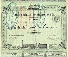 FRANCE GENERAL RAILWAY FUND stock certificate 1858 RARE
