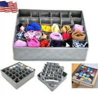 30 Cells Bamboo Charcoal Underwear Ties Sock Drawer Closet Organizer Storage Box