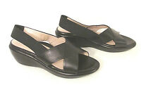 Taryn Rose Made in Italy Women's Wedge Sandal 37 Shoes Black Leather Criss Cross