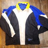 Vintage 90s Reebok Colorblock Full Zip Windbreaker Jacket Spellout Sz Large L