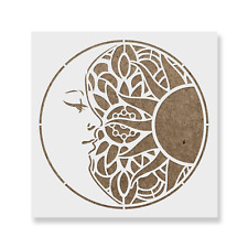 Mandala Sun and Moon Stencil - Reusable Mylar Stencils for Painting