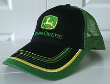John Deere Black Fabric Front Green Mesh Back Hat Cap w Cool Color Block Details
