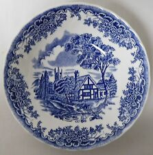 """CHURCHILL THE BROOK BLUE MADE IN COLUMBIA CEREAL BOWL NO RIM 6 1/2"""" X 1 3/4"""" EUC"""