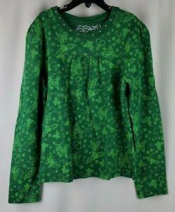 Place Girls L 10/12 Shirt Top Butterflies Flowers Hearts Silver Stud Neck Green