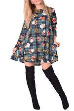 Women's Girls Kids Snowman Christmas Print Flared Skater Mini Swing Dress Top