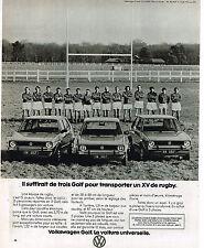 PUBLICITE ADVERTISING 124  1977  VOLKSWAGEN   GOLF   la voiture universelle