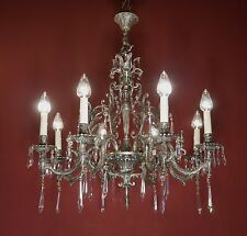 BEAUTIFUL 8 LIGHT CRYSTAL CHANDELIER SILVER VINTAGE LAMP NICKEL OLD FRENCH