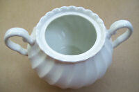Vintage No Lid Two Handle White Sugar Bowl Made In England Good Condition