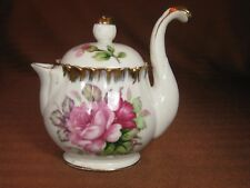 UCAGCO China Japan Unique Individual Tea Pot with Tall Handle Roses Gold Trim