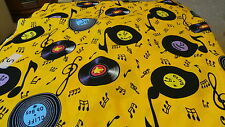YELLOW100% cotton rock & roll with records fabric fat quarter now reduced