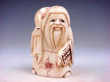 Japanese Detailed Hand Carved Netsuke Sculpture Old Man Bag Fan #07221803