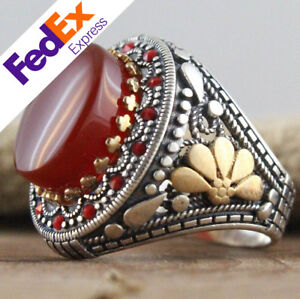 Natural Red Carnelian Stone 925 Sterling Silver TURKISH Men's Ring All Sizes